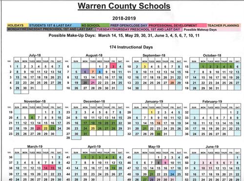 Henry County School Calendar.Warren County Schools 2018 2019 Calendar Henry F Moss