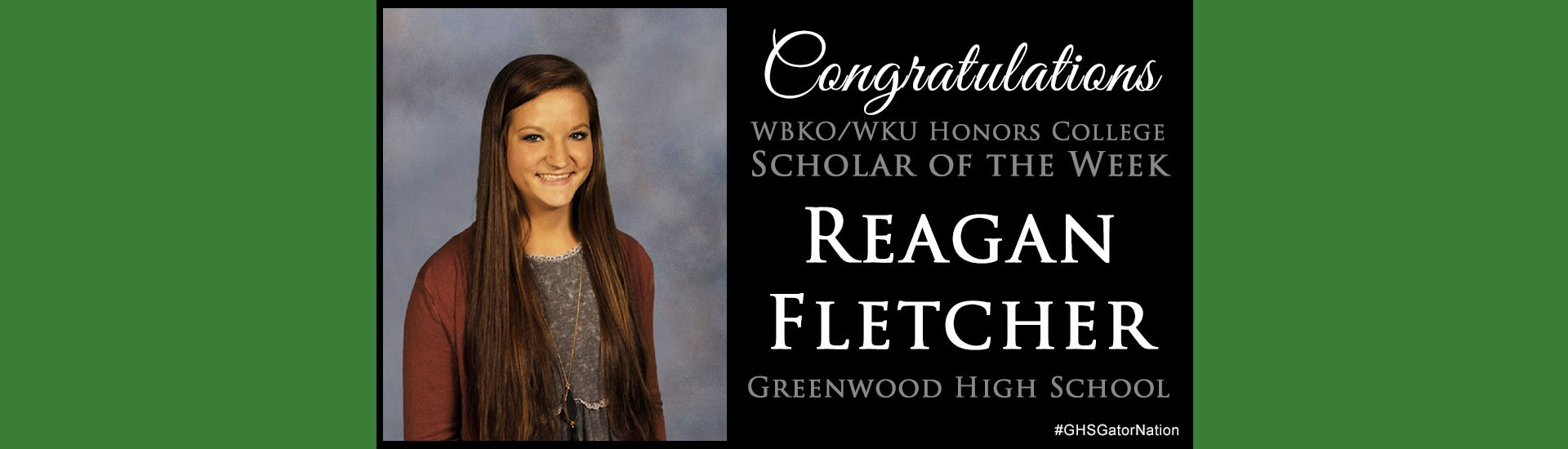 Scholar of the Week Reagan Fletcher
