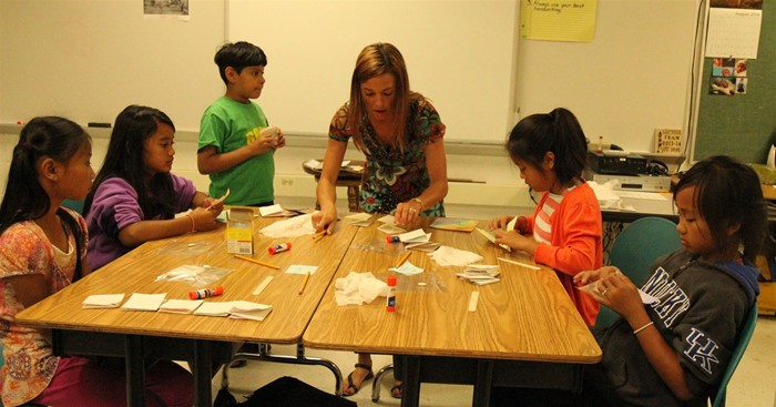 Students learn language skills, art, and more.