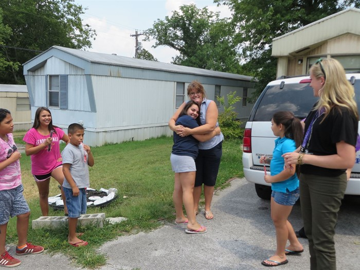 LRES teachers and staff visited students at their homes before the start of the school year.