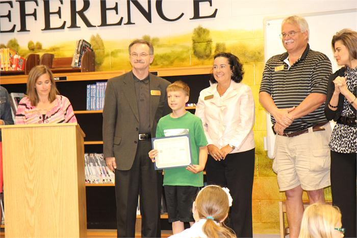 Students recognized for community service.