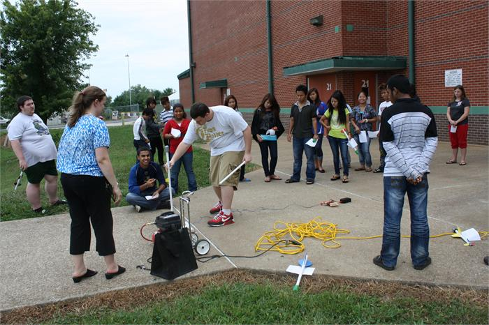 Students in Ashley Murphy's physical science class at Greenwood High built and launched compressed-air rockets to learn about motion.