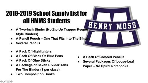 hmms 18 19 school supply list henry f moss