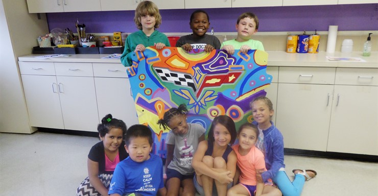 "North Warren students display their ""Car Part"" Art for the National Corvette Museum.  This piece sold to an admirer in Florida"