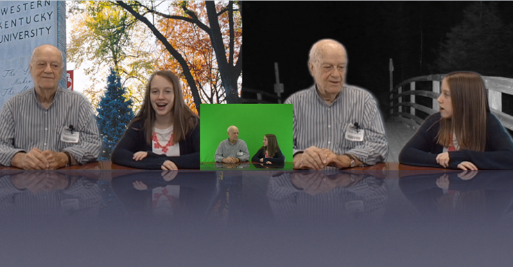 SWMS Spartan News Team utilize green screen technology in Dr. Montell interview