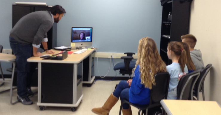 Mrs. Miller presents with her peer-assistive technology students via Google Hangouts