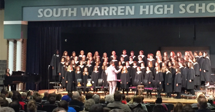 Mr. Calvert and the SWMS choir performing at our annual Winter concert