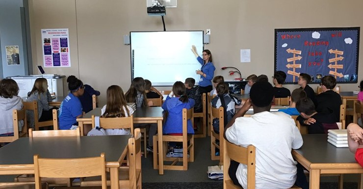 Spartans learn about Lexile and Google areas within their library visit