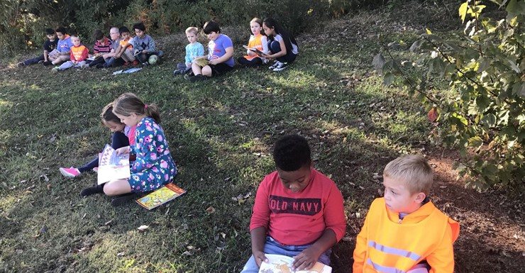 A perfect day outside for Reading Buddies