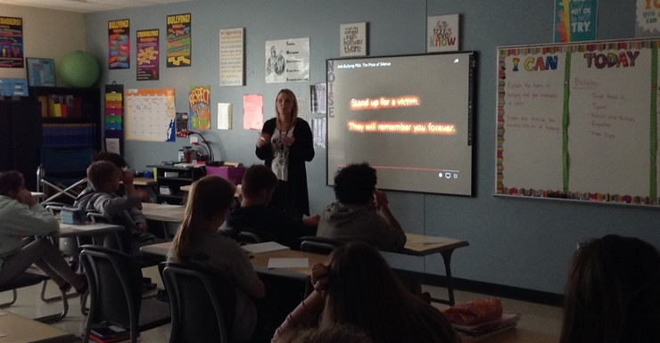 Mrs. Hardcastle's FCS students learn about bully prevention.