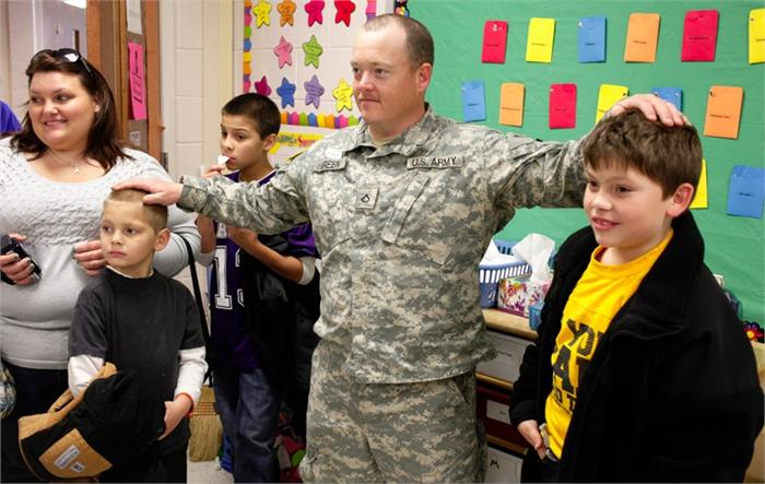 Soldier reunites with family at Briarwood Elementary