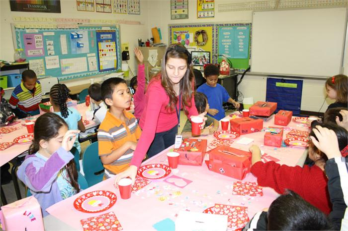 WCHS students help elementary students celebrate Valentine's Day