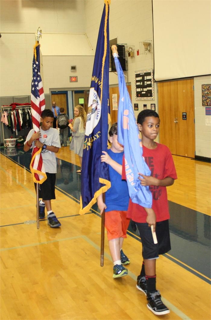 Learning flag etiquette at Natcher Elementary