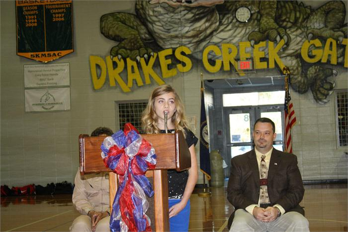 Drakes Creek Middle School Veterans Day celebration