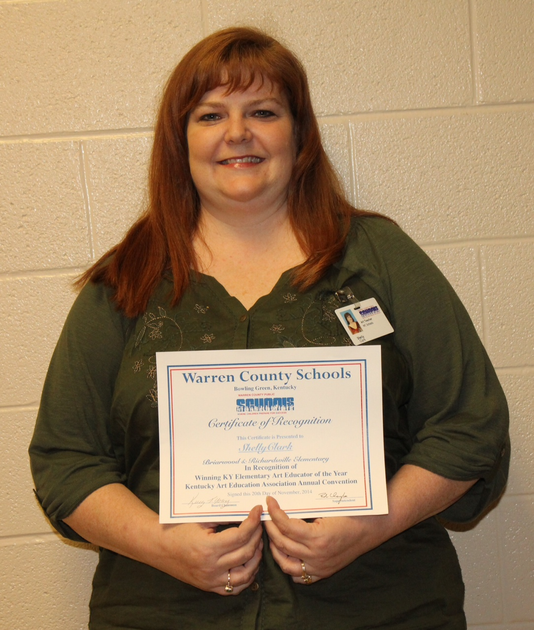 A veteran Warren County Public Schools art teacher and one of her students  were recognized at the November 20 meeting of the Warren County Board of ...