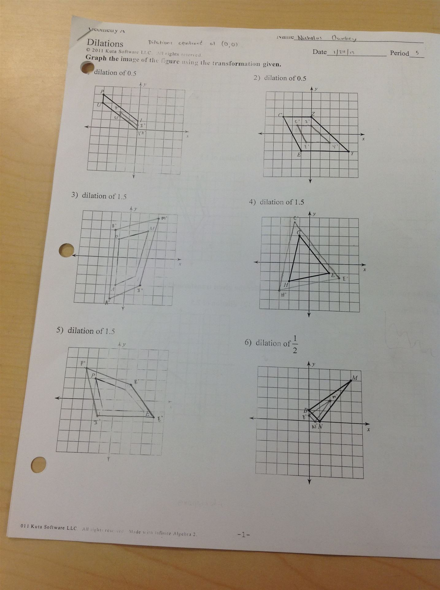 worksheet Dilations Worksheet 8th Grade south warren middle answers to dilations homework page 1