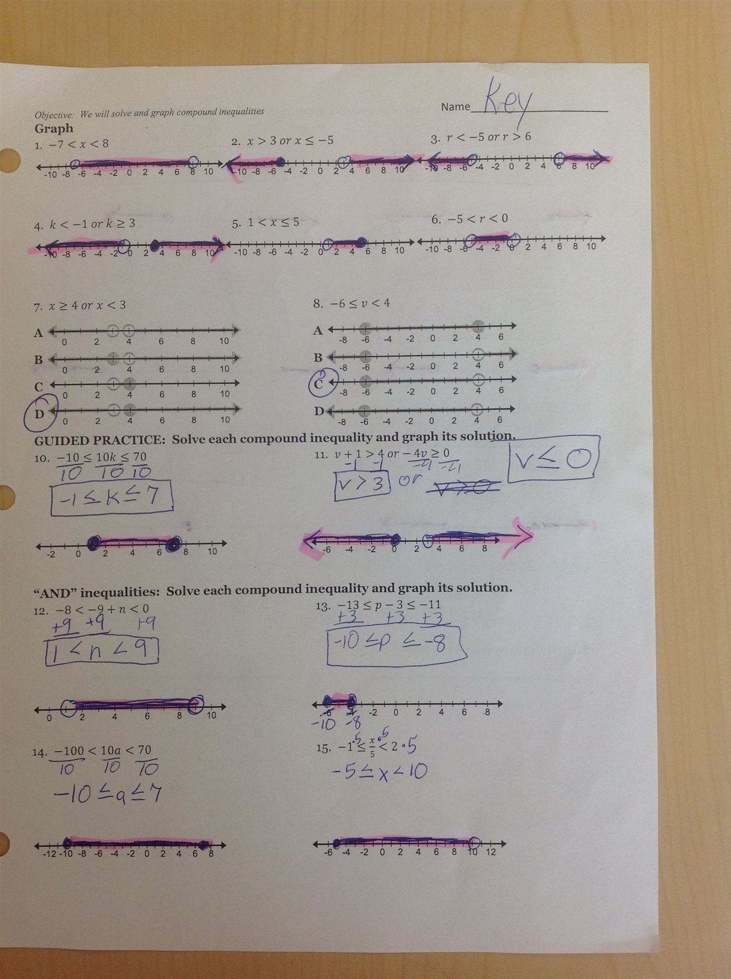 math worksheet : 1 6 solving compound and absolute value inequalities ...