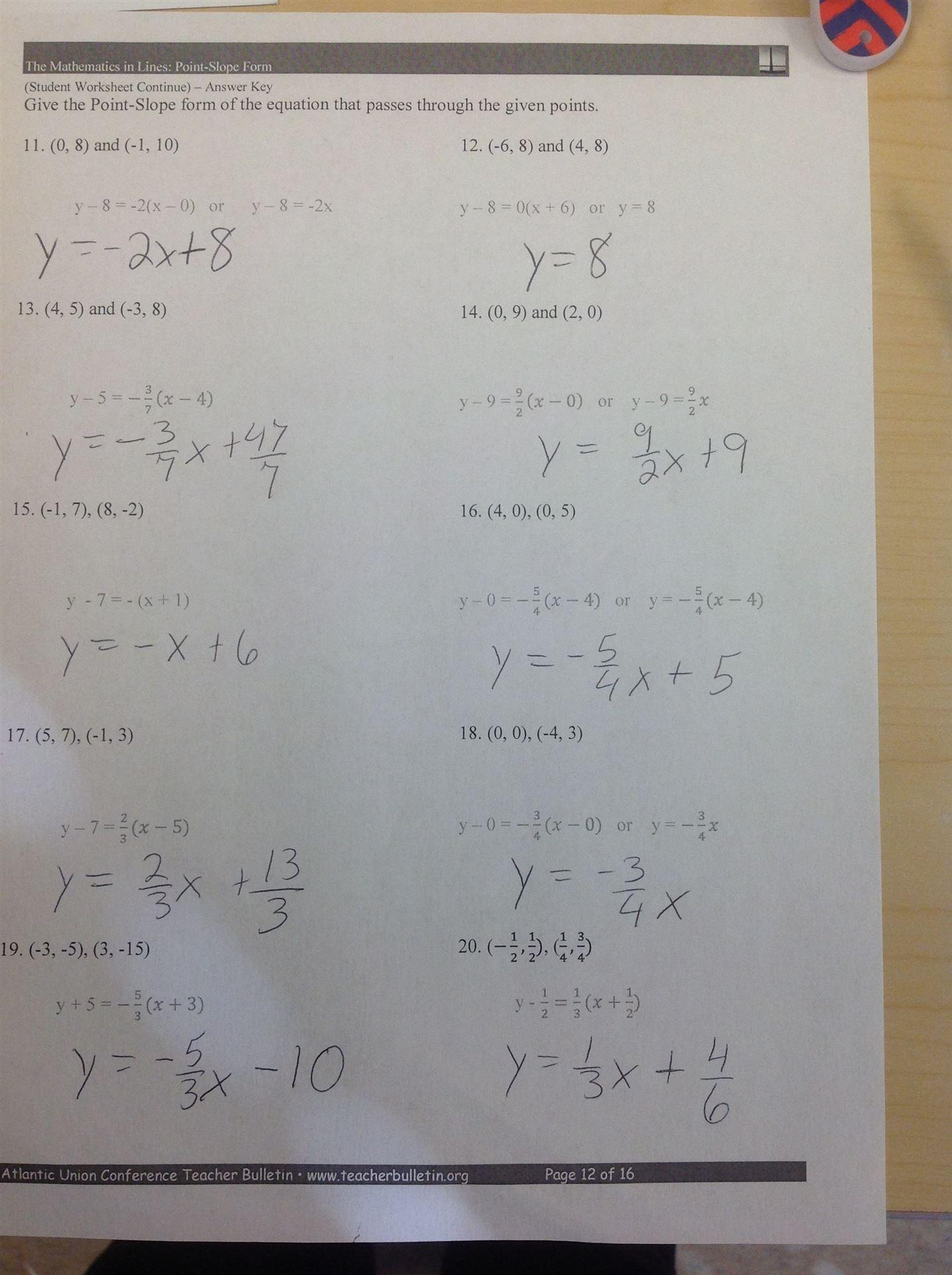 Answers to college algebra homework