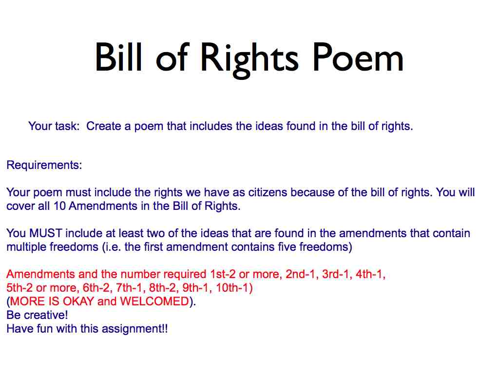 Bill Of Rights Amendments 1 10 Poems additionally american revolution ...