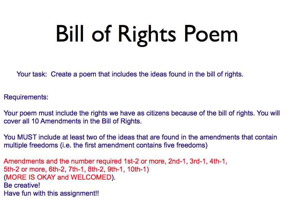 Bill Of Rights Amendments 1 10 Poems additionally american revolution ...