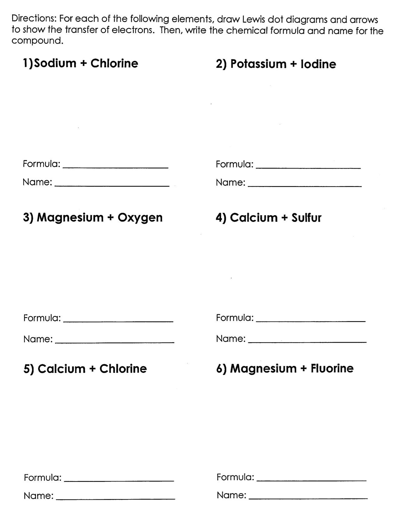 Ionic Bonds Worksheet And Answers: bonding and chemical formulas worksheet answers   laveyla com,