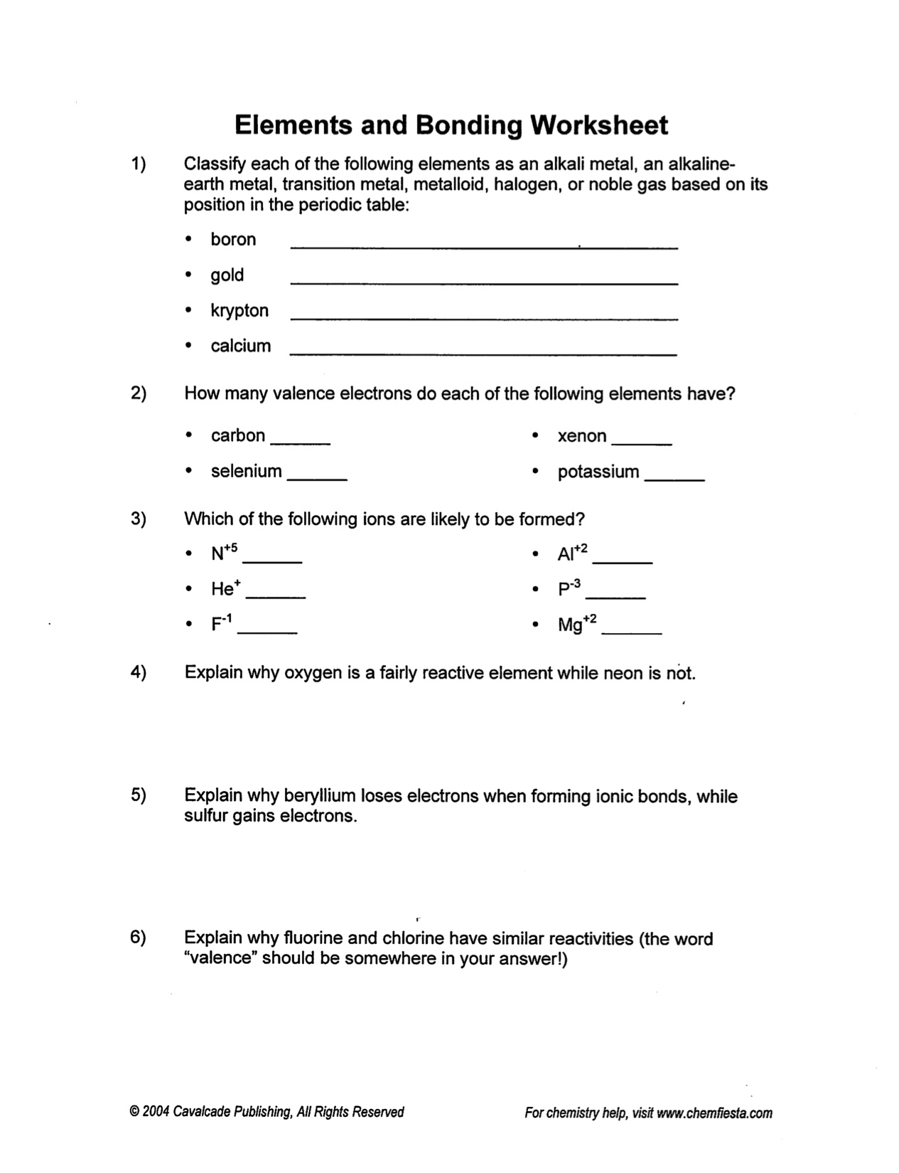 Warren County Public Schools – Bonding and Chemical Formulas Worksheet Answers