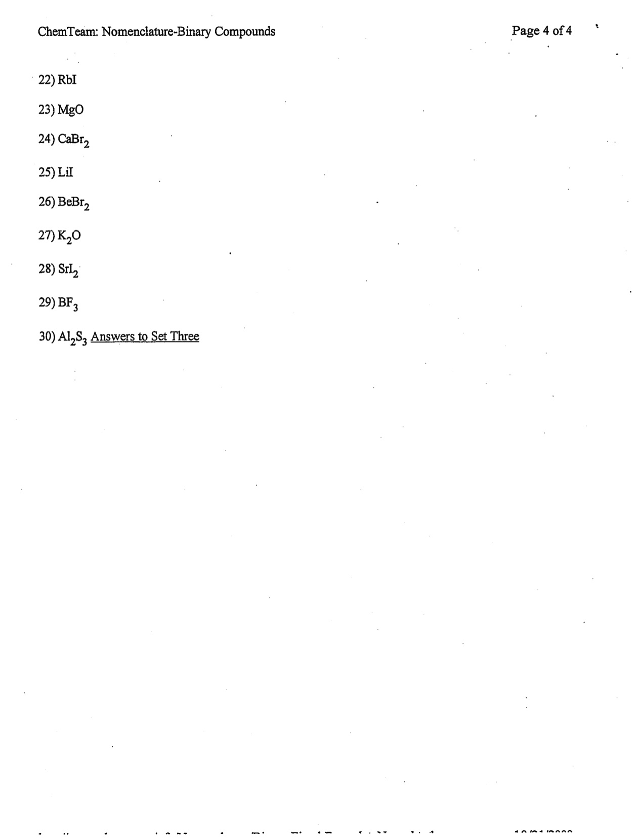 Warren County Public Schools – Binary Compounds Worksheet